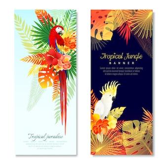 Bannières verticales de perroquets tropicaux