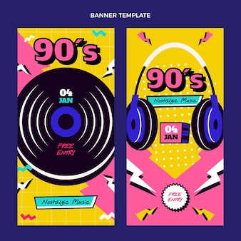 Bannières verticales plates du festival de musique nostalgique des années 90