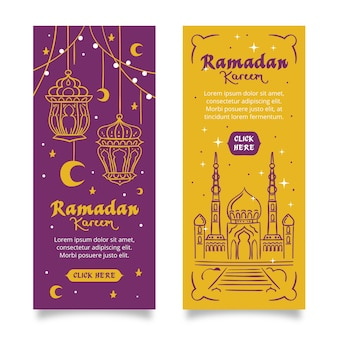 Bannières verticales de ramadan