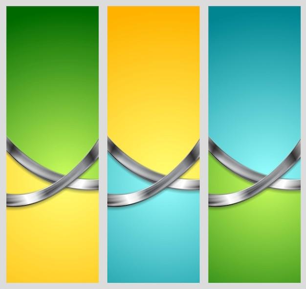 Bannières verticales de technologie abstraite lumineuse avec des vagues métalliques. modèle vectoriel