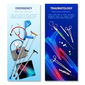 Bannières verticales de traumatologie chirurgicale