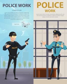 Bannières verticales de travail de police