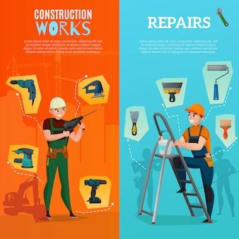 Bannières verticales des travailleurs de la construction