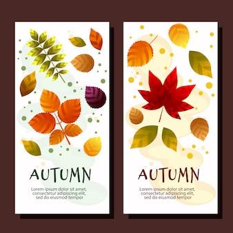 Bannières verticales de vente automne avec feuilles