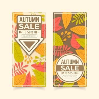 Bannières verticales de vente d'automne