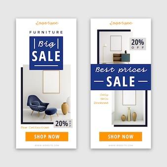Bannières verticales de vente de meubles avec photo