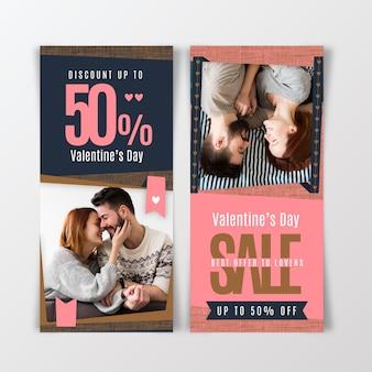 Bannières verticales de vente de la saint-valentin