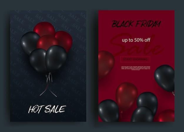 Bannières verticales de vente vendredi noir. voler des ballons brillants sur un fond sombre et rouge.