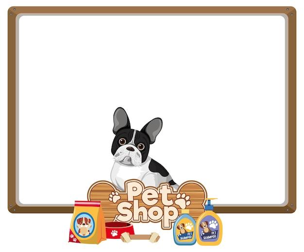 Bannières vierges avec logo mignon chien et animalerie isolé sur fond blanc