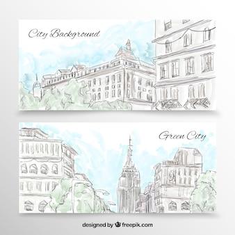 Bannières de la ville dans le style tiré par la main