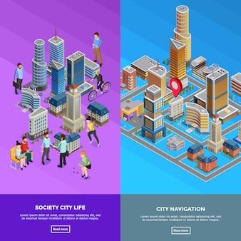Bannières de ville isométrique