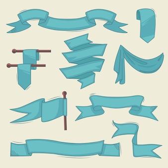 Bannières vintage. collection de cadres de doodle de rubans abstraits dessinés à la main.