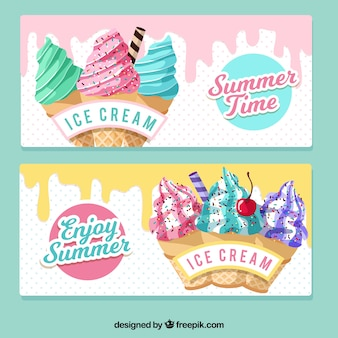 Bannières vintage ice cream