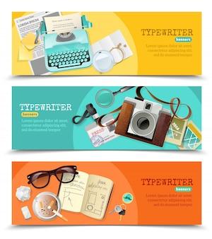 Bannières vintage journalist typewriter