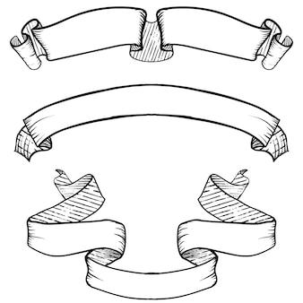 Bannières vintage ruban, jeu dessiné à la main