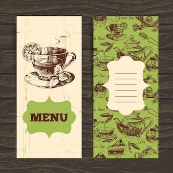 Bannières vintage de thé. illustration de croquis dessinés à la main. conception de menus