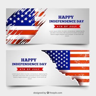 Bannières vintage usa fête de l'indépendance