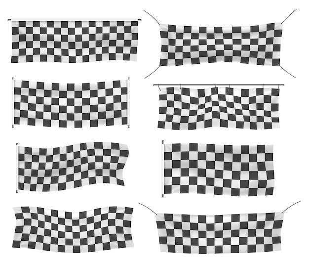 Bannières en vinyle pour débutants, garnies et à carreaux avec plis