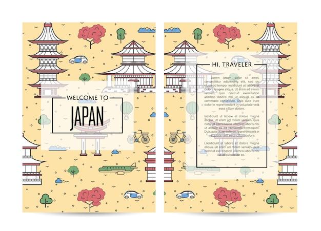 Bannières de voyage au japon dans un style linéaire