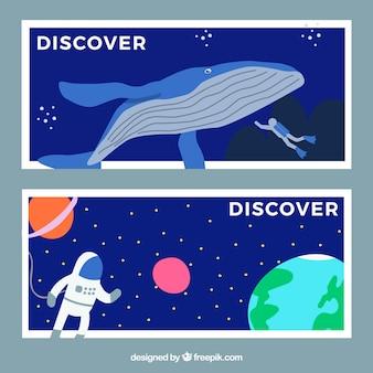 Bannières de voyage d'aventure avec un design plat
