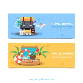 Bannières de voyage avec des bagages