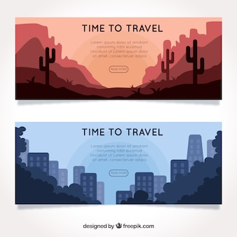 Bannières de voyage dans le style plat