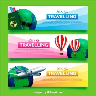 Bannières de voyage dans un style réaliste