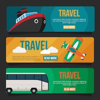 Bannières de voyage design plat