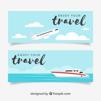Bannières de voyage avec un design plat