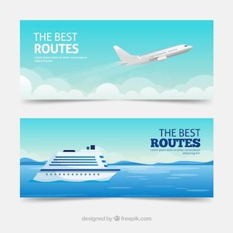 Bannières de voyage avec destination