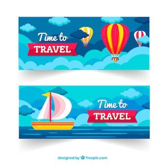 Bannières de voyage avec destions