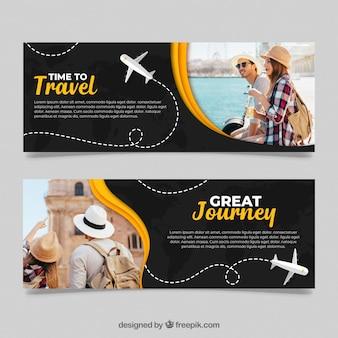 Bannières de voyage avec photo