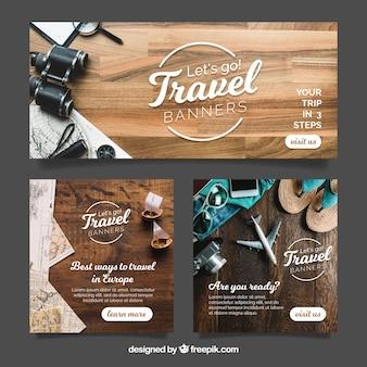 Bannières de voyage avec photographie