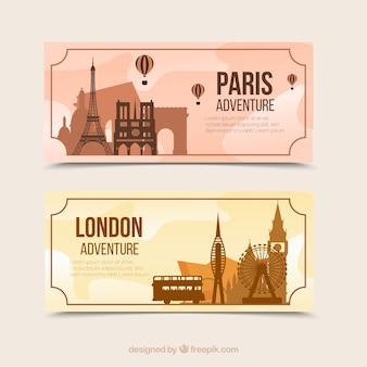 Bannières de voyage plat paris et londres