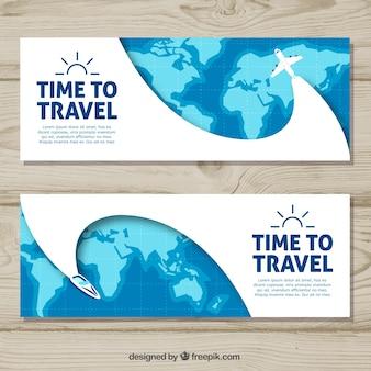 Bannières de voyage avec style dessiné à la main
