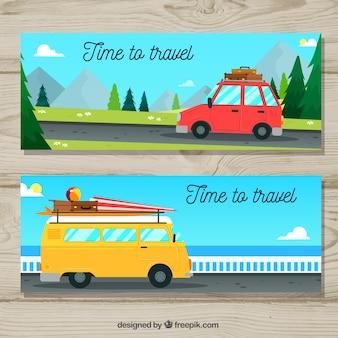 Bannières de voyage avec des transports dessinés à la main