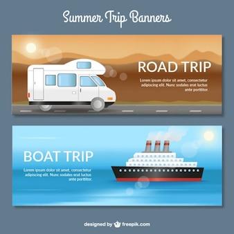 Bannières de voyage avec les transports