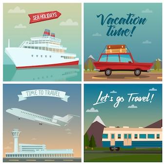 Bannières de voyage. vacances à la mer