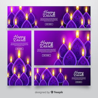 Bannières web diwali de conception réaliste avec des bougies