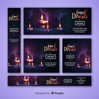 Bannières web diwali de conception réaliste