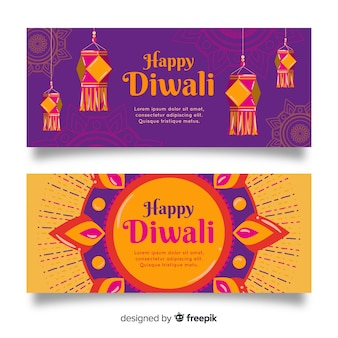 Bannières web diwali dessinés à la main
