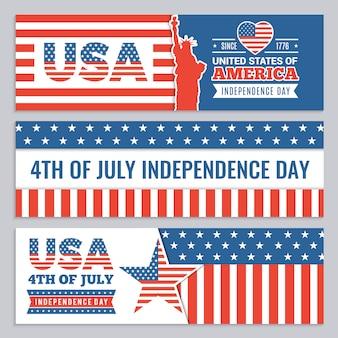 Bannières web de la fête de l'indépendance des états-unis.