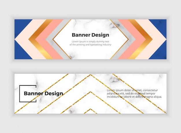 Bannières web de médias sociaux géométriques avec triangles, texture de marbre et lignes de paillettes dorées.