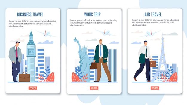 Bannières web pour les vols en classe affaires