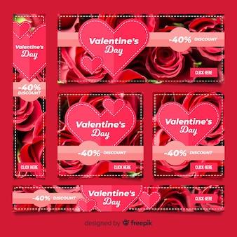 Bannières web saint valentin avec photo