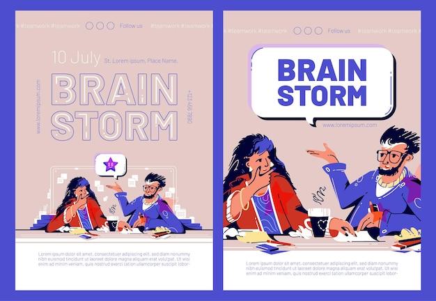 Bannières web de tempête de cerveau avec des gens d'affaires