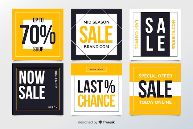 Bannières web de vente abstraite pour les médias sociaux