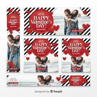 Bannières web de vente de saint valentin