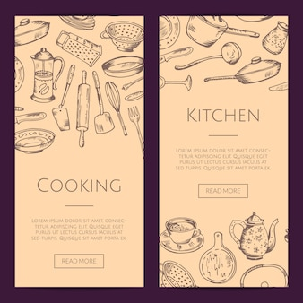 Bannières web verticales de sertie d'ustensiles de cuisine dessinés à la main