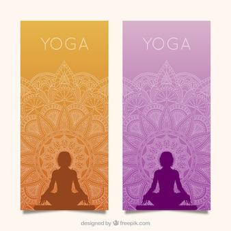 Bannières de yoga avec mandala
